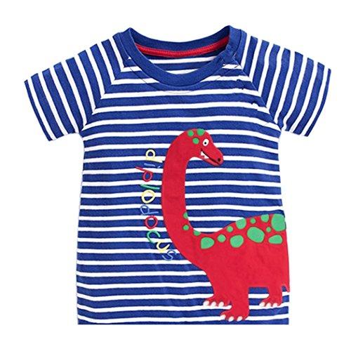 Tarkis Kinder T-shirt Baumwolle Streifen Feuer Cartoon Auto Muster Jungen Mädchen Kurzarm Oberteil Pullover Größe (92, Blauer Dinosaurier)