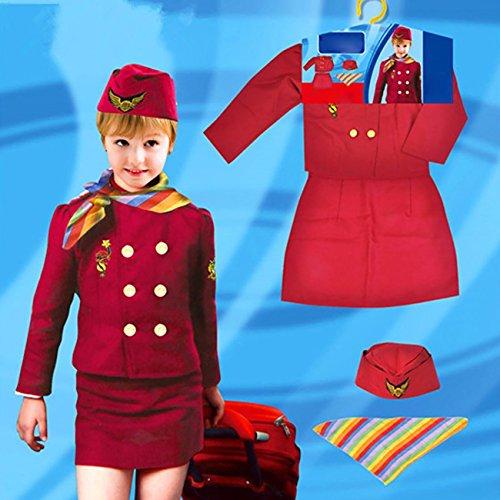 EZSTAX Enfants Costume de Hôtesse de l'air Déguisement pour Carnaval Halloween Fête