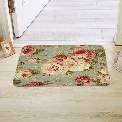 dfegyfr Doormats Welcome Mats/Indoor/Front Door/Bathroom Mats Rugs for Home/Office/Bedroom Non Slip Backing Machine Washable - Antique Flowers, 23.6