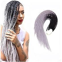 Chiguo Treccia Hair Extensions di Capelli Sintetici African 22'' / 55cm Ombre Colore Sfumato Intrecciare i Capelli Parrucca Braid Trecce (Nero-argento)