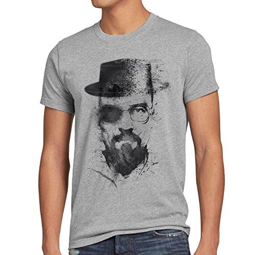 Heisenberg Shirt Kostüm - style3 Walter Crystal T-Shirt Herren Meth White tv Serie, Größe:XXXL, Farbe:Grau meliert