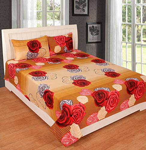KS21 Homes 3D Printed Glace Cotton Double Bedsheet with 2 Pillow Covers, Size : 90 Inches x 90 Inches (228 cm x 228 cm) by KS21 Homes