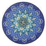 Tondo Yoga Tappetini Antiscivolo Imbottitura di Gomma Naturale Casa Seduta Cuscino Stampa Stuoia Coperta Tappeto Meditazione 60 x 60 x 0.3 cm (23.6 x 23.6 x 0.1 inch)-Loto da Sogno