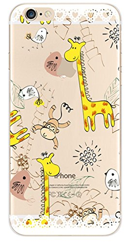 """Coque pour iPhone 6 6S 4.7"""", ISAKEN Transparente Ultra Mince Souple TPU Silicone Etui Housse de Protection Coque Étui Case Cover pour Apple iPhone 6 6S 4.7 Pouce (Fleur Pêche) Singe Giraffe"""