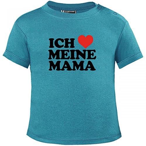 Mikalino Baby T-Shirt Ich liebe meine Mama kurzarm, Farbe:atoll-blue;Grösse:92/98 (Ich Liebe Meine Mami-shirt Für Jungen)
