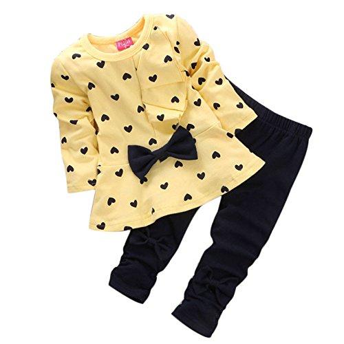 T-shirt + Hosen Kleinkind, Sunday Säuglingsbaby Mädchen Druck Kleidungs Bogen Oberseiten Ausstattungen Eingestellt Neue Baby Herz Förmigen Print Bow Nette 2 Kinder Set (Gelb, 0-6 M) (Säugling, Kleinkind T-shirt)