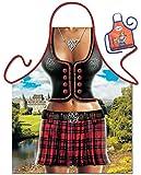 Schottin Motiv Kochschürze sexy Schootin Schottenrock Kostüm Schürze : Scottish Woman Grillschürze -- Themenschürze mit Minischürze für Flaschen