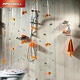 Generic claro, W180x 150x 200cm: 180* 200cm pvc transpat piedra de peces Play cortina de ducha de baño grueso a prueba de moho resistente al agua tela cortina de baño