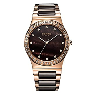 Bering Time Ceramic – Reloj de cuarzo para mujer, correa de diversos materiales color oro rosa