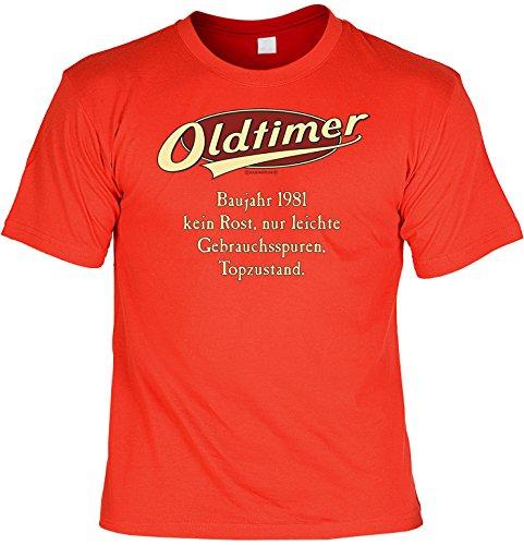 Geburtstags-Jahrgangs-Fun-Shirt-Set inkl. Mini-Shirt/Flaschendeko: Oldtimer Baujahr 1981 - geniales Geschenk Rot