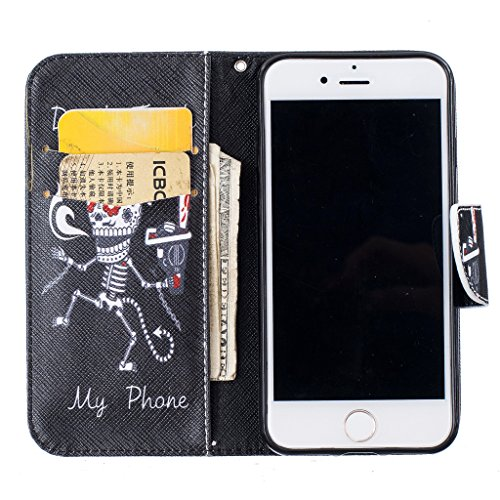 iPhone 7 Plus Hülle,iPhone 7 Plus Lederhülle,Mo-Beauty® Painted Muster [Valentinstag] Ledertasche PU Leder Hülle Flip Tasche Wallet Case Cover HandyHülle Brieftasche mit Standfunktion Karteneinschub u Don't touch my phone #1