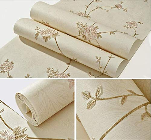 ASGJLH Blumentapete 3D Strukturierte Blumen Tapetenbeläge Für Mädchen Schlafzimmer 10mx53cm WP68501 Creme -