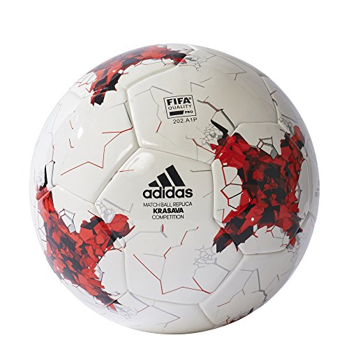 adidas Herren Confederations Cup Competition Ball, Top:White Power Red/Clear Grey Bottom:Black, 5 -