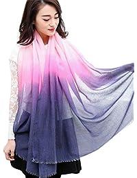 BZLine® Fashion Femme Foulard en Fils Paris   Écharpe-Châle Couleur Dégradé  Imprimé   74cc73ea804