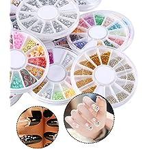 Moda 20Pcs del clavo del arte del brillo del Rhinestone Consejos manicura de la decoración de la rueda