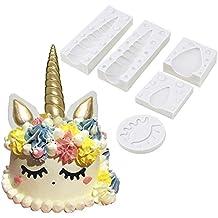 Juego de 5 moldes de unicornio para tartas y ojos, moldes de silicona para decoración