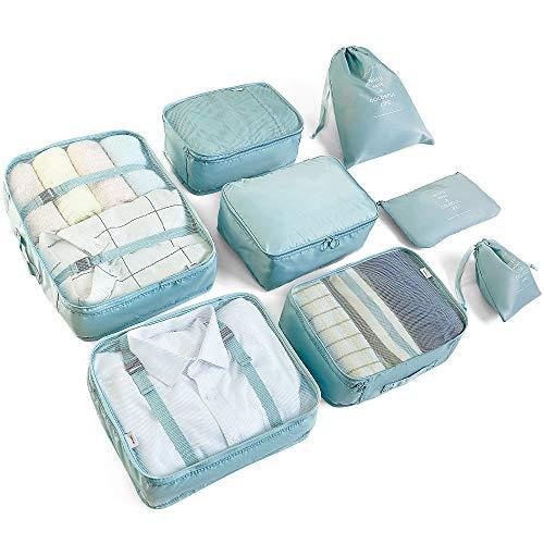 AMAYGA Koffer Organizer Set 8-teilig, kleidertaschen für Kleidung Kosmetik Schuhbeutel Kabel Aufbewahrungstasche, Reisen Organizer Tasche (blau)