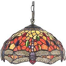 12 pulgadas de la libélula de la vendimia del vidrio manchado del estilo de Eeuropeo lámpara de techo de la lámpara pendiente de la sala de la lámpara de Pasillo