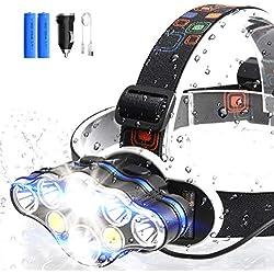 ERAY Lampe Frontale Puissante, Lampe Torche LED Rechargeable avec 8 LEDs/ 8 Modes d'éclairage/ IPX4 Étanche/Câble USB + Chargeur de Voiture + 2 Batteries Fournis