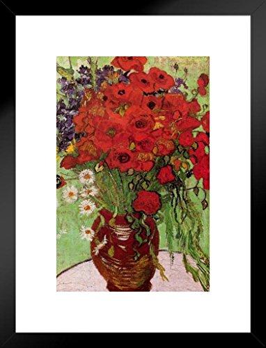 Poster Gießerei Vincent Van Gogh Rot Mohn und Margeriten 1890Öl Leinwand Kunst Kunstdruck 20x26 inches Matted Framed Poster - Mohn-Öl