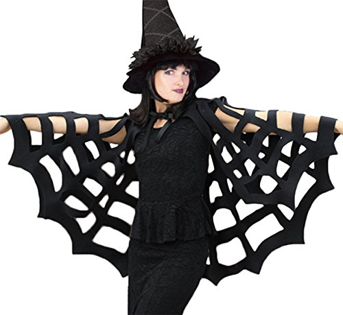 ,Karneval-Klamotten' Spinnen Cape Umhang Spinnenumhang Spinnennetz schwarz Erwachsene Einheitsgröße One (Kinder Spinne Halloween Kostüm)