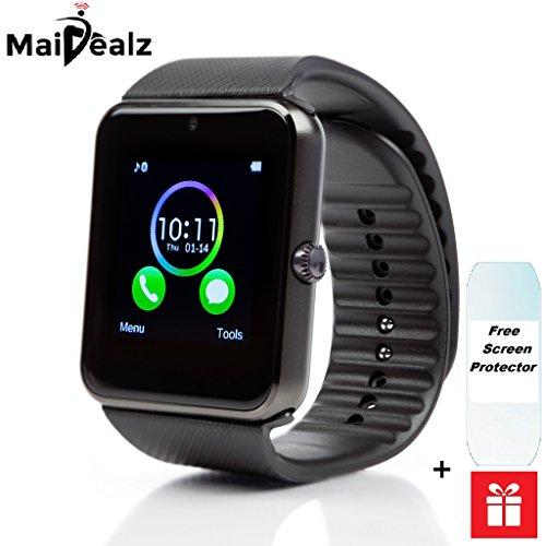 Smart Watch avec carte SIM entrée maidealz GT08 Bluetooth Smart Watch Fitness Watch with Touch Screen Hands Free Calorie Counter Podomètre Bracelet Smart Tracker Wrist Band for Android Smart Phones: Samsung/Huawei/HTC/Sony/Google Nexus