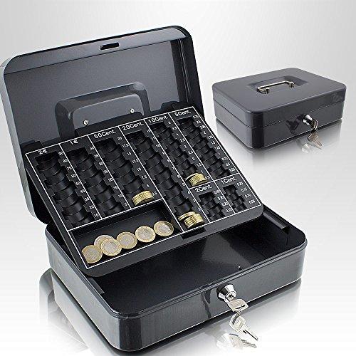 Geldkassette 25 cm groß abschließbar Münz Geld Zählbrett Kasse Safe Dunkelgrau 250mm x 200mm x 70mm (B/T/H)