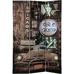 DRW Biombo 3 Paneles Lienzo Chicago_120x2, 5x180 Cm