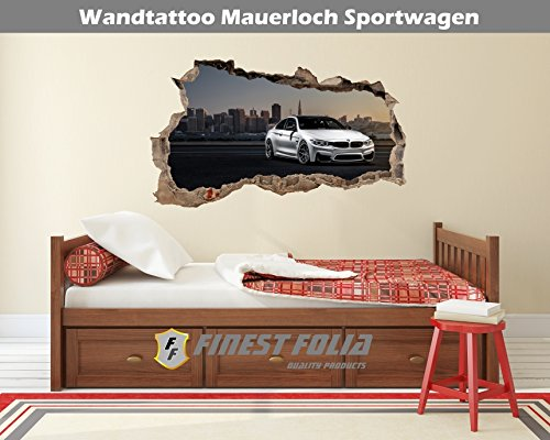 Preisvergleich Produktbild Wandtattoo Mauerloch Auto Wandfolie Aufkleber Wohnzimmer Schlafzimmer (WL16BMW M4 F82)