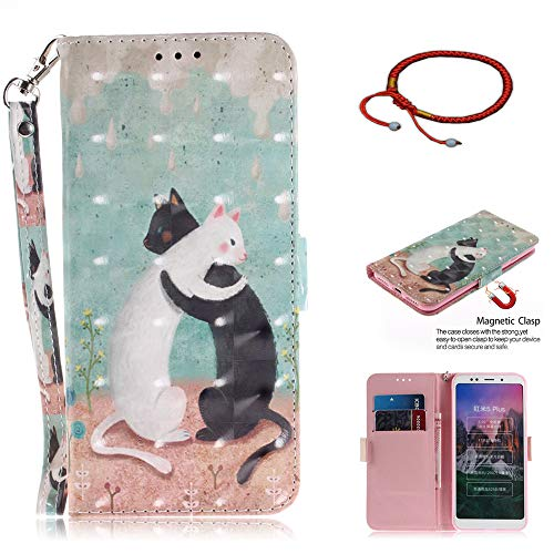 GOCDLJ Funda para Xiaomi Redmi 5 Plus Funda de Cuero de la PU 3D Caso de Flip Carcasa Case Teléfono Inteligente Caso Purse Pouch con Lanyard Strap Diseño Gato Negro y Gato Blanco
