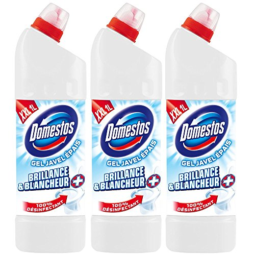 Domestos Gel Wc Javel 100% Désinfectant Brillance Blancheur 1l - Lot de 3