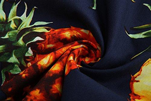 JEETOO Herren Ananas Shirts Hawaiian Style Hemd Drucken Urlaub Button Down Kurzarm/Langarm Slim Fit Freizeit Hemd Sommer Casual in Den Größen S-3XL Navy