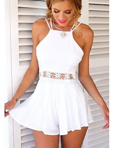 GSP-Combinaisons Aux femmes Sans Manches Sexy/Décontracté/Mignon/Grandes Tailles Mélanges de Coton Fin Micro-élastique white-s