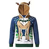 SuperSU Männer Herbst Winter Weihnachten Rentier Stil Feather Hooded Christmas Fur 3D Bluse Top Hoodie Winter Männer Pullover Mode Kapuzenpullover Tasche Lange Ärmel Outwear Pullover mit Kapuze