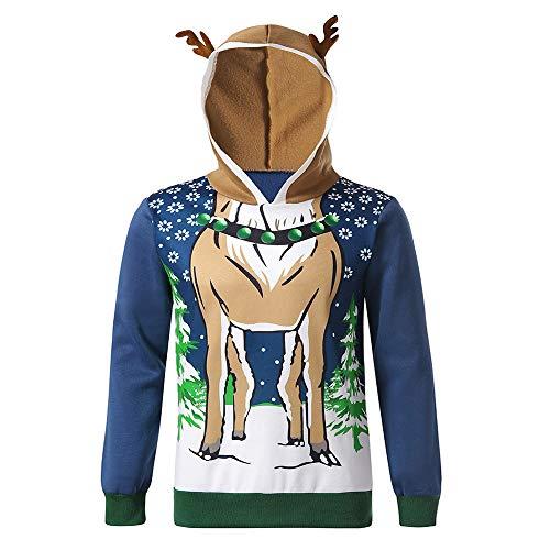 Pottoa Herren Weihnachten KostüM Herbst Hoodie Sweatshirt 3D -