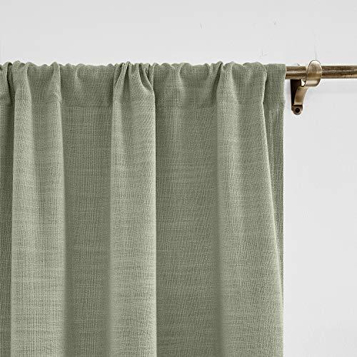 ChadMade Grau Leinen mit Blackout Lining Vorhang 254 x 214 cm (B x L), Blickdicht Vorhänge Rod Pocket Gardinen für Glas-Schiebetüren, Terrassentüren, Wohnzimmertür (1 Panel)
