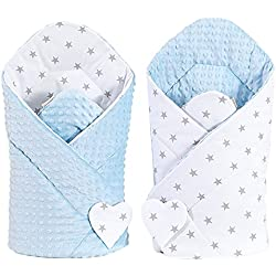 Sevira Kids–Saco de dormir de bebé estilo Nido de ángel para recién nacido,de tela minky, Reversible, Diferentes Colores azul Étoile Gris/Bleu Talla:recién nacido - 3/4 meses aprox. 80 x 80 cm)