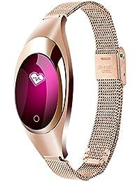 Smart Watch, ZIMINGU Z18 Femme Bracelet Intelligent Calorie et Distance Fitness Tracker mesure de la tension artérielle Moniteur de fréquence cardiaque Imperméable Bluetooth - Android IOS (rose or)