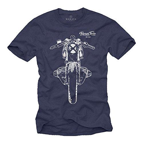Boxer Twin R100 Motorrad T-Shirt Herren - Cafe Racer - Geschenke für Motorradfahrer BMW Schwarz M