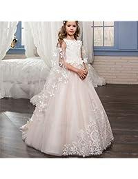 72d7f776d5581 Maybesky Robe pour Enfant Robe de mariée pour Enfants Dentelle Fleur À La  Main Amovible Châle