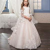 Vestido de niña princesa Vestido de boda para niños de encaje hecho a mano  Flor Desmontable 7cea42f50c2
