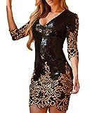 MASHIKOU Damen V-Ausschnitt Bodycon Minikleid Paillettenkleid Partykleid Kurz Cocktailkleid (L, Schwarzes Gold)