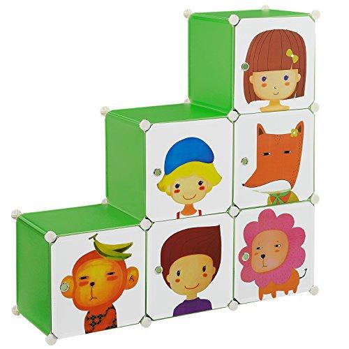 [neu.haus] Kinder Regalsystem DIY mit 6 Fächern Motiv [110x110cm] Kunststoff Steckregal (Schuh-boxen Schrank)