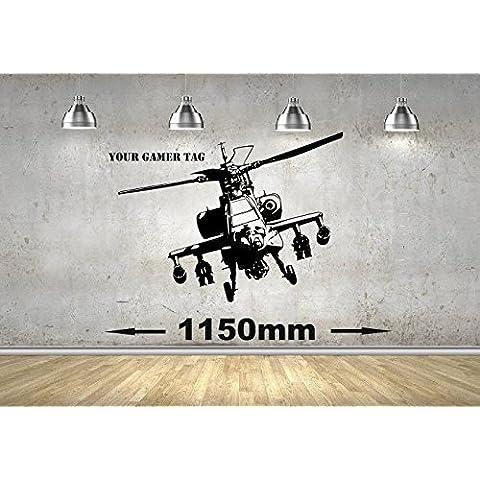 Call of Duty estilo arte de la pared Gamer Militar Helicóptero Apache MW3Mural de PS3XBOX, vinilo, negro, 1150mm x 800mm