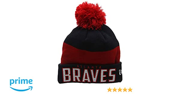 7cc84 f0caa  discount new era unisex adults atlanta braves word block  bobble knit beanie blue navy one size 6c754be83480