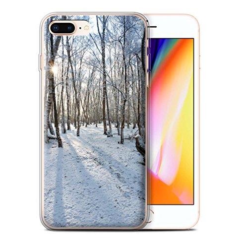 Stuff4 Gel TPU Hülle / Case für Apple iPhone 8 Plus / Sumpfland Muster / Winter Saison Kollektion Verschneiten Wald