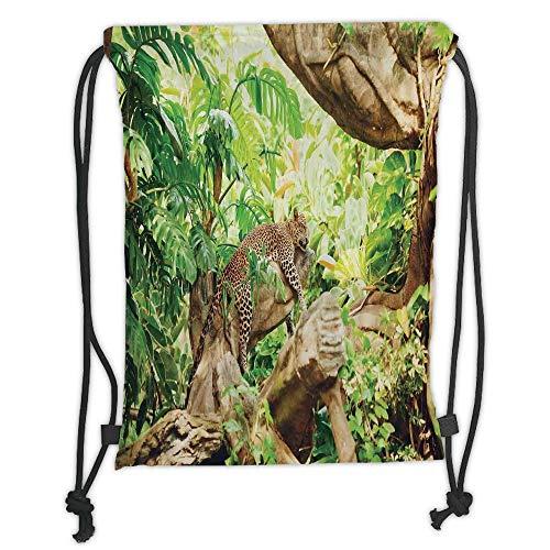 Fashion Printed Drawstring Backpacks Bags,Safari Decor,Leopard on the Branch in Savanna Exotic Macro Tropical Leaf Jungle Wild Nature Art Photo,Brown Green Soft Satin,5 Liter Capacity,Adjustable S - Safari Room Decor