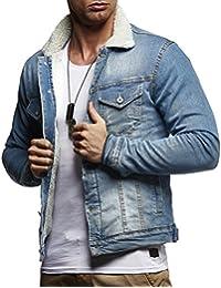 f06c7f901e33 LEIF NELSON Herren Jeansjacke Basic Stretch Jeans Jacke mit Fell Stehkragen  Übergangsjacke Freizeitjacke…