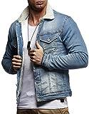LEIF NELSON Herren Jeansjacke Basic Stretch Jeans Jacke Fell Stehkragen Übergangsjacke Hoodie Freizeitjacke LN9610; Größe S, Hell Blau