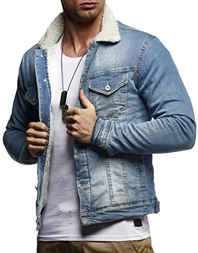 LEIF NELSON Herren Jeansjacke Basic Stretch Jeans Jacke mit Fell Stehkragen Übergangsjacke Freizeitjacke Slim Fit LN9610